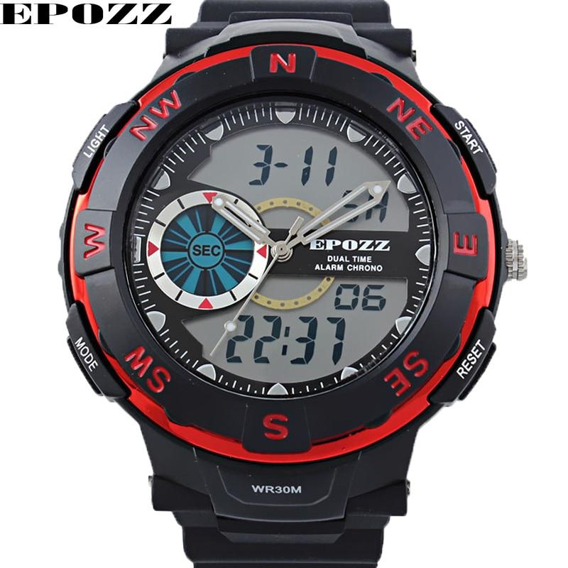 Epozz Men Sport Watch Quartz Wristwatch Dual Display Watches mens watch Rubber Strap Military Water Resistant Male Clock<br><br>Aliexpress