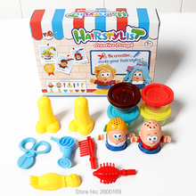 Handmade Hairstylist Creative Dough, Little Hair stylist Play Dough Plasticine with tool kits Educational Toys for Children(China)