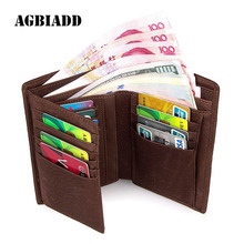 High Capacity Knitting Pattern Men'S Wallet Card Holder Men Wallets Leather Brand Famous Design Multi-Card Bit Short Wallets 307(China)