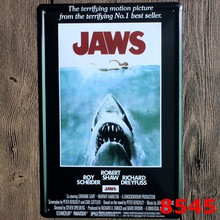 JAWS Vintage Home Decor Tin Sign Classical Cinima Wall Decor Metal Sign Vintage Art Poster Retro Plaque\Plate(China)