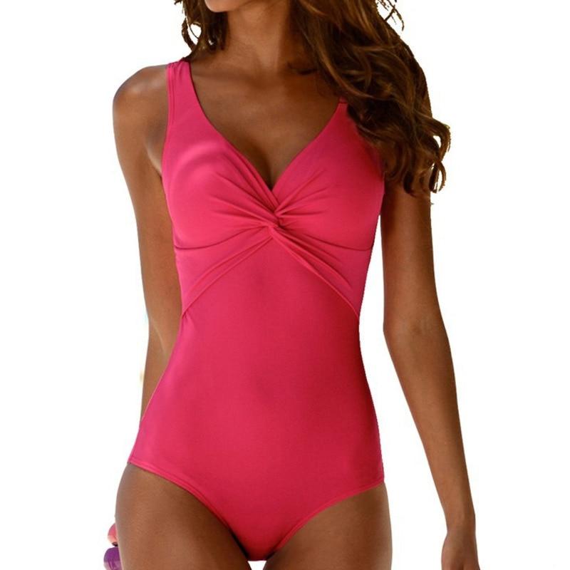 Women Sexy 1Pc. Closed Large Size Push Up Tankini Swimsuit
