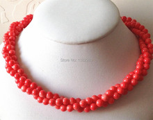 !   6mm 3 rows of pink coral necklace 18''     JT5504