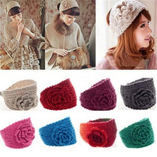 Adult Women Fashion Autumn Winter Woolen Flower Headband Knitted Crochet Earmuff Warm Turban Hair Band Headwrap