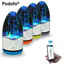 Podofo 3.5mm Colorful Portable Bluetooth Speakers Wireless LED Music Fountain Water Dancing Speaker For iPhone iPad Phone