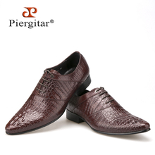 Crocodile embossed brown genuine leather men Shoes Handmade Oxford lace-up Shoe For Men Casual Business Dress Shoes Men's Flat(China)