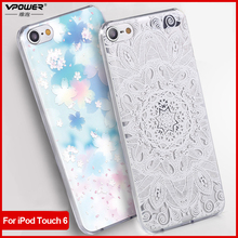 Vpower for apple ipod touch 6 3D Relief Print Back Flip Cover Phone Bag for ipod touch6 Phone Cover Case+Screen Film