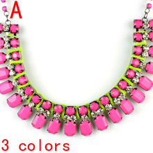 oversize Neon pink stones women collar choker necklace ,NL-2034