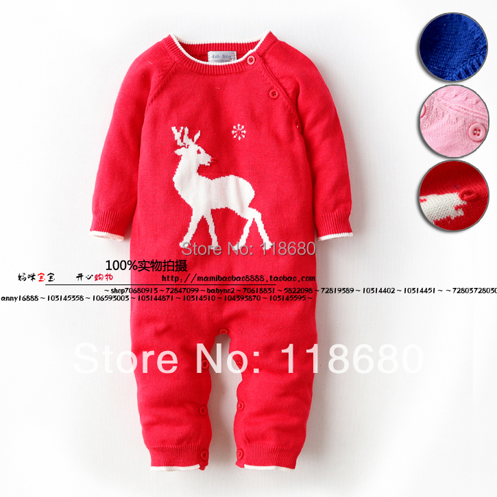 new 2017 spring autumn baby rompers newborn Baby clothes infant knitted sweater jumpsuit baby boys deerlet coverall pullover<br><br>Aliexpress