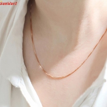 SunWard Fine Jewelry Rose Gold Collares Box Chain Necklace For Men & Women 1pc