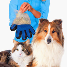 Pet Dog Hair Brush Glove For Pet Cleaning Massage Grooming Comb Supply Finger Cleaning Pet Cats Hair Brush Glove For Animal 40(China)