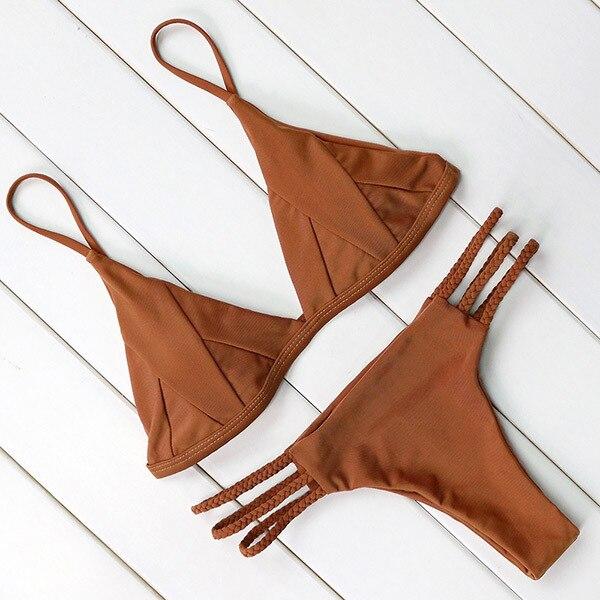 2018 Coffee Bikini Set Sexy Swimwear Women Solid Swimsuit Female Push Up Tankinis Summer Tie Side Bottom Bathing Suit Beachwear<br>
