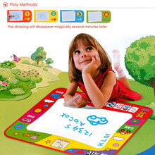 Hot 80X60cm Kids Water Drawing Painting Writing Toys Doodle Aquadoodle Mat Magic Pens Children Drawing Board+2 Water Drawing Pen(China)