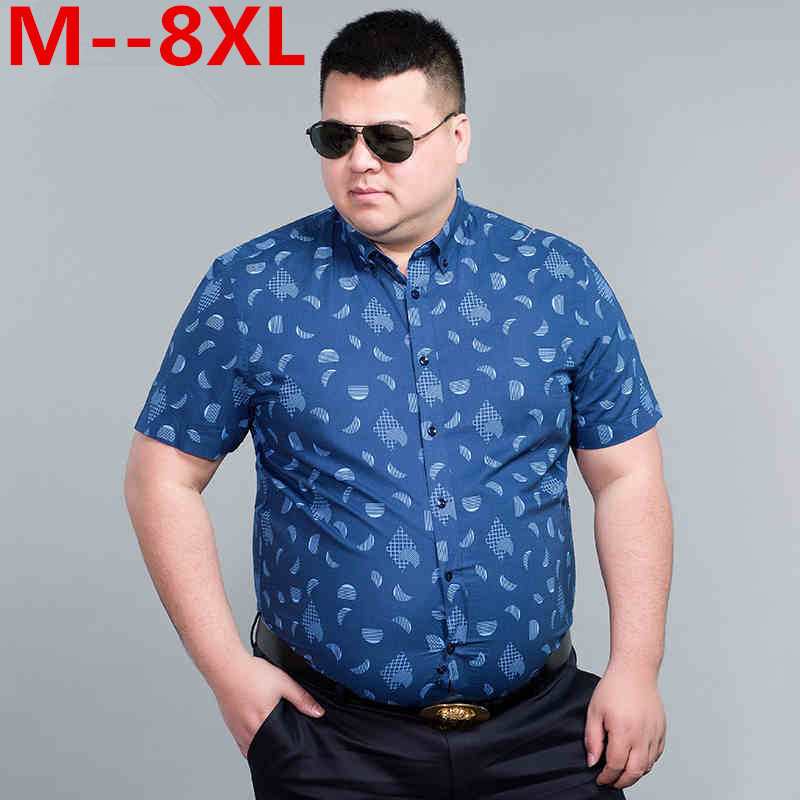 10XL 8XL 6XL 5XL 4XL Men Shirt Short Sleeve Fashion Floral Printing Male Shirts Brand Clothing Casual shirt Man camisa masculina