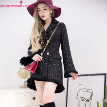 Women double breasted irregular flare sleeve long tassel tweed wool coat winter elegant casual work woolen coats outwear casaco(China)