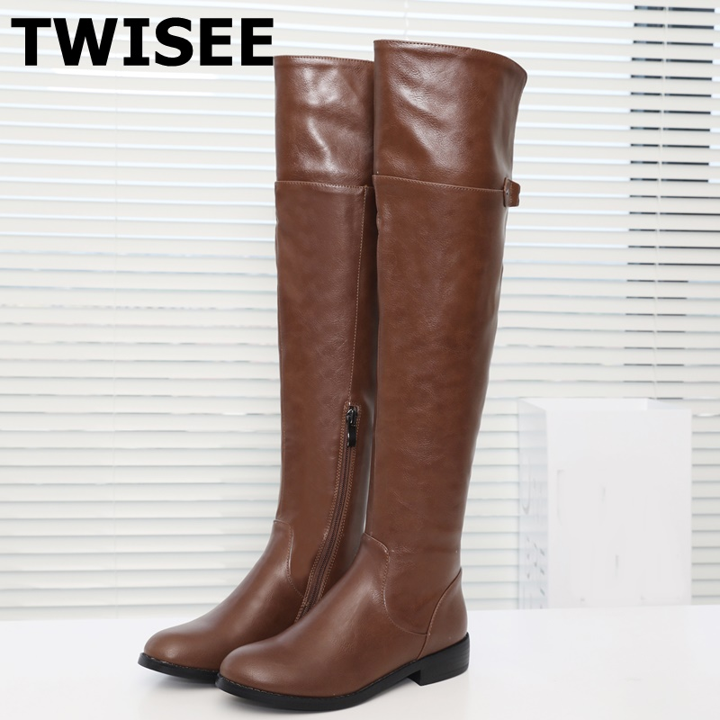 TWISEE hot sale Round Toe pu leangth women boots low heel Knee high shoes autumn winter Buckle ladies boots black gray brown(China)