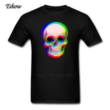 3D Skull T Shirt Men's New Arrival T-shirts 3D Skull Dad Short Sleeve Pure Cotton Plus Size Tee Shirt Clothes For Male Teenager(China)