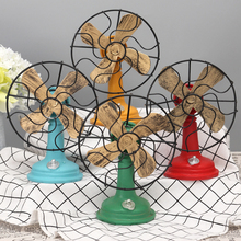 New 1 Pcs Antique Iron Resin Fans Vintage Fan Craft Model Decoration Articles Resin Crafts Home Decor Gifts T30