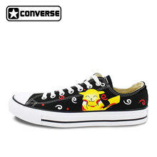 Low Top Converse All Star Hand Painted Shoes Pokemon Pikachu Design Custom Men Women's Canvas Sneakers Skateboarding Shoes(China)