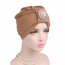 New Corn Kernels Cotton Headband Diamond Drill Hair Accessories India Headdress Chemotherapy Hat TJM-242B 2Pcs Free Shipping