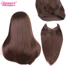 "Fish In Straight Invisible Wire Halo Beauty On line Hair Extensions 100G 18"" European Virgin Hair 100% Remy Human Hair Extension"