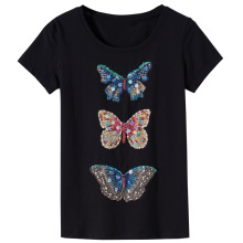 2018 Fashion Summer T Shirt Women butterfly diamond beaded T-shirt Women Tops Tee Shirt Femme New harajuku female T-shirt(China)