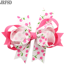 JRFSD 2017 New Cute Girls Hairpin Ribbon Bow With Flowers Hair Clips Cartoon Printed material Hair Clips Hair Accessories TJ-02