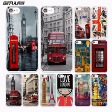 BiNFUL style london bus england telephone vintage british design hard White Case Cover for Apple iPhone 7 6 6s Plus SE 5 5s 5C 4(China)