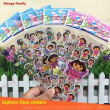 6 sheets/lot Dora the Explorer toys stickers,Dora DIY wall stickers For Children's Christmas gift decor stickers wanpy family