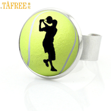 TAFREE vintage fashion photo jewelry men women Tennis Ball sports silhouette rings classic summer ball fans ring gifts SP675