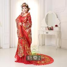 New arrival hanfu fairy princess bride tang dynasty royal train red Women Hanfu Clothes Lady Chinese Stage Dress