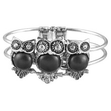 Black  Natural Stone Imitation Thailand Silver Owl Bracelet Fashion Retro Men Hand Bracelet 1PC