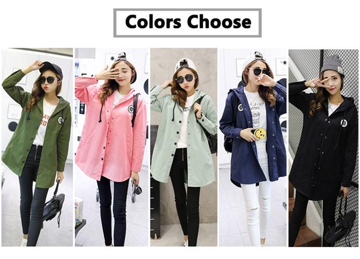Jackets Women 2019 New Winter Fall Women\`s Basic Jacket Letter Print Coats Outwear Windbreaker Jacket Hooded Chaquetas Mujer (2)