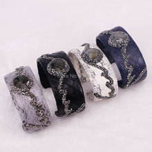 5PCS Natural Labradorite Paved Black Cube Zircon Bangle Bracelet Snakeskin Paved Rhinestone Cuff Bangle