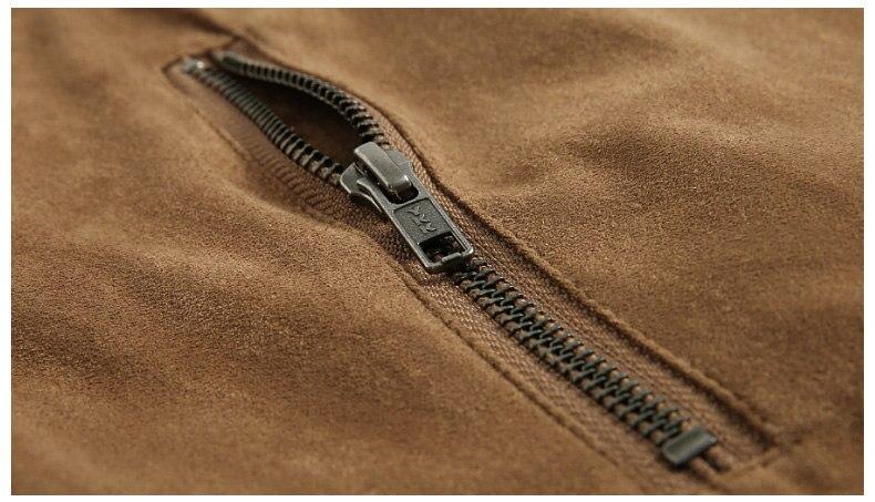 Jacket Men High Quality Autumn Baseball Collar Suede Spring Mens Jacket Coat Male Winter Warm Camel Size M L XL XXL 3XL 2018 New-09