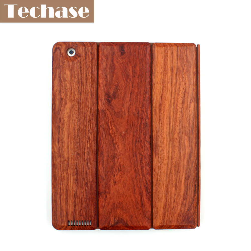 Techase Luxxury Pad Cases For iPad 2 3 4 Tablet Covers Full Rosewood Wooden Design Foldable Folio Case 9.7 For iPad Mini 1 2 3<br>