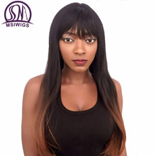 MSIWIGS Two Tones Kinky Straight Blonde Synthetic Wigs with Bangs Heat Resistant Long Natural Ombre Wig for Black Women