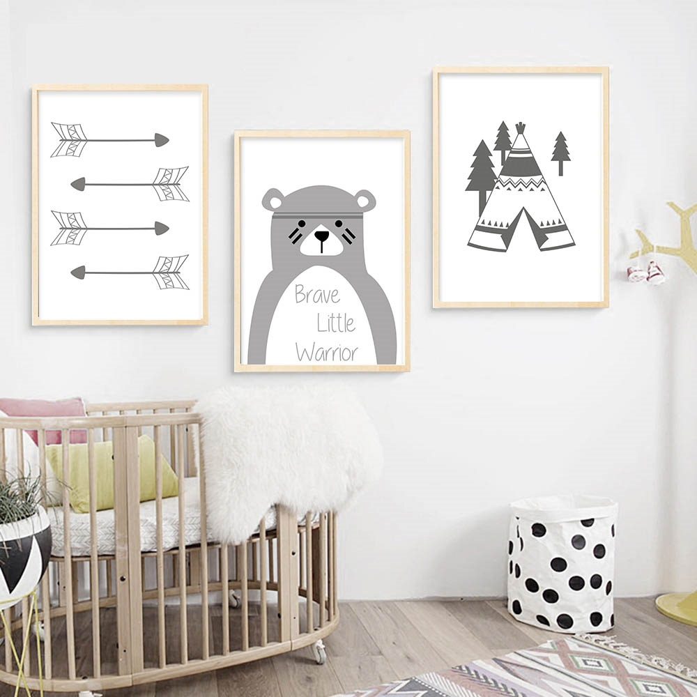 Tribe-Bear-Wall-Art-Canvas-Posters-Cartoon-Nursery-Prints-Nordic-Style-Painting-Wall-Pictures-Children-Bedroom(1)