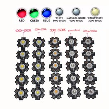 1W 3W 5W High Power Red/Green/Blue/Royal Blue LED Emitter Bulb + 20mm Star PCB(China)