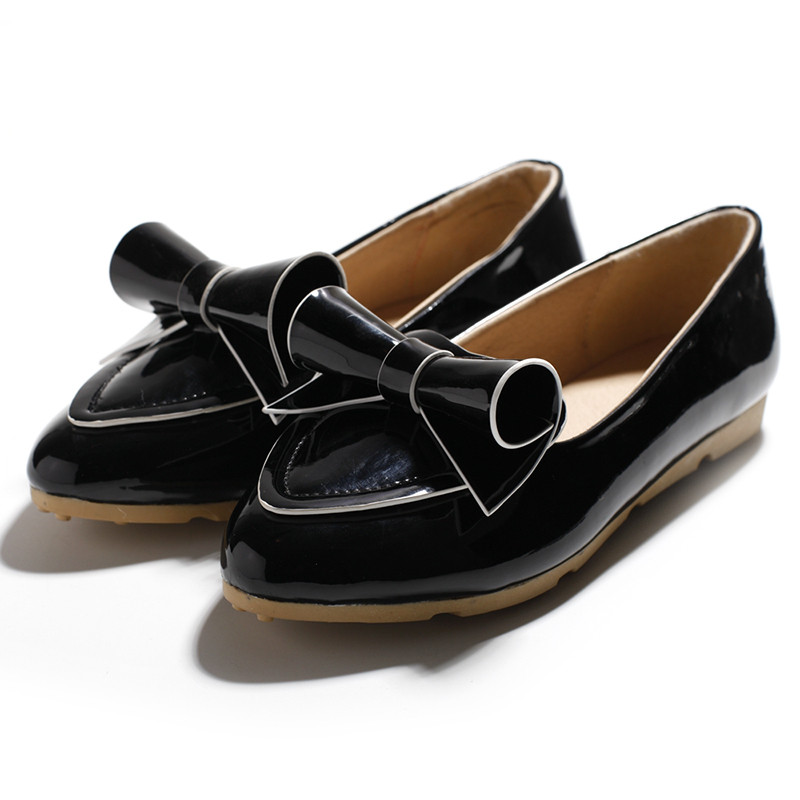 2016 New Womens Flats Shoes Fashion bow pointed toe flat womens shoes big bowtie flats Cow Muscle driving shoes loafers<br><br>Aliexpress