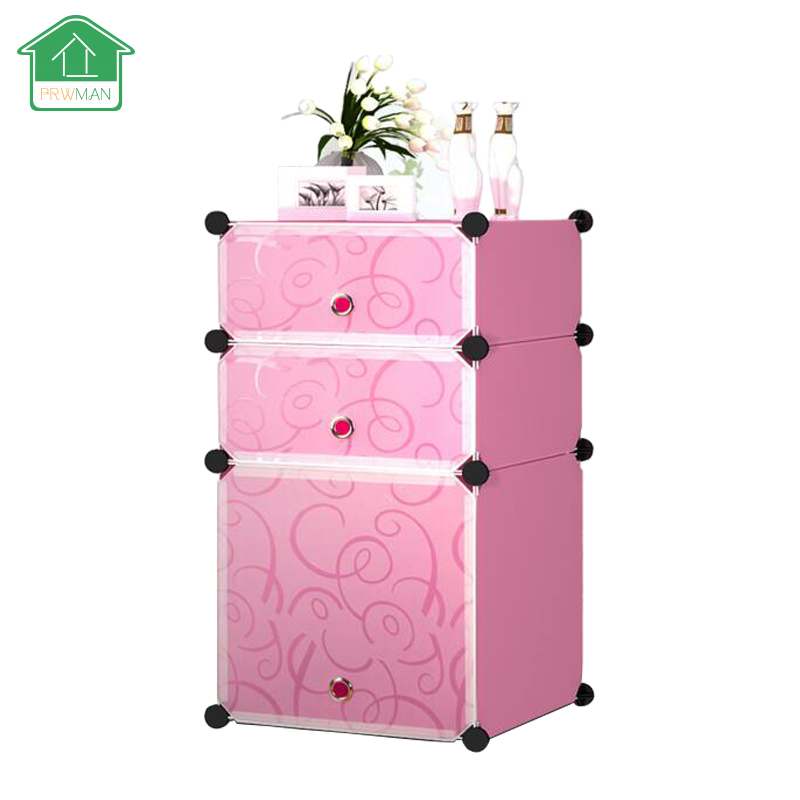 PRWMAN DIY Magic Piece of Resin Storage Cabinets 2Tier and 3Tier Bedroom Resin Nightstand Organizer For Home Furniture(China (Mainland))