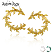 2017 Punk Shining AAA Cubic Zirconia Stud Earrings for Women Yellow Statement Studs Ear Crystal Earring Fashion Jewelry AE387(China)