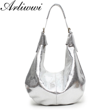 Luxury 100% Real Leather Serpentine Pattern Female Leisure Handbags Leisure Style Large Capacity Shiny Shoulder Bags For Women