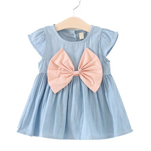 Cute Baby Girl Dress Jeans Children Kids Baby Denim Dresses One Piece Baby Summer Clothing Casual Wear Dresses Clothes Girls