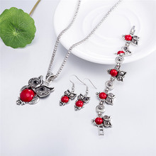 Fashion Jewelry lot Hot major Vintage Antique Silver Red Owl Jewelry Set Necklace Pendant Earring For Women Jewelry Sets