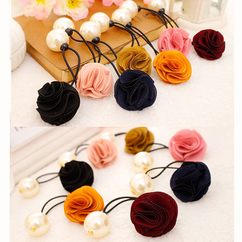 Flower Rose Pearl Elastic Hair Bands Hairstyling Tools Hair Accessories For Girls Hair Ties Rope Scrunchy Women Head Ornaments(China (Mainland))