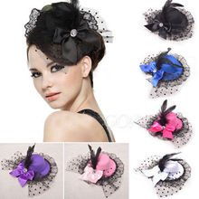 1PCS Women Bow Hair Clips Lace Feather Mini Top Hat Fascinator Fancy Party Hot