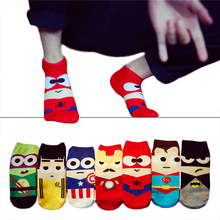 1Pair Classical Cartoon Style Happy Socks Character Pattern Superheroes Socks Men Women 3D Novelty Cotton no show ankle Sock