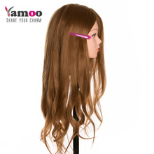 Cosmetology Mannequin Heads with Hair Mannequin Head Can Be Curly With Makeup(China)