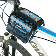 Bicycle Touch Screen Phone Bag Accessories MTB Bike Front Frame Bag Cycling Top Tube Bag Panniers Double Pouch For 5.5inch phone