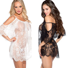 Sexy lingerie women black white Exotic Apparel sexy costumes Eyelash lace leakage shoulder transparent sexy nightgown underwear(China)